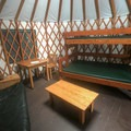 The inside of the yurt can accommodate sleeping arrangements for up to six people.- Link Creek Winter Yurt