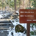 The trail is well marked along the river.- Swallow Falls State Park