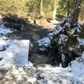 The trail is well marked, but be careful on slippery areas, such as this, during winter.- Swallow Falls State Park