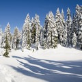 Owen Lake is completely snow covered.- Black Mountain