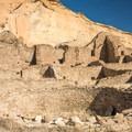 One of Pueblo Bonito's many ceremonial kivas.- Pueblo Bonito