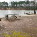 Picnic areas and fishing dock on the lake.- Lincoln Parish Park