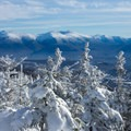 View to the Presidential Range from Mount Starr King.- Mount Starr King + Mount Waumbek Snowshoe