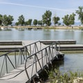 One of several docks in the marina.- Utah Lake State Park