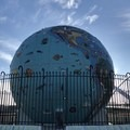 A sculpture of a globe in the park.- Salem Riverfront City Park