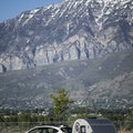 Camping at the foot of the mountains.- Utah Lake State Park Campground