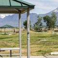 Well-equipped sites at Utah Lake Campground.- Utah Lake State Park Campground