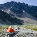 Tent pads with Rethel Mountain in the background.- Mount Weart