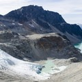 On the ascent, Wedge Glacier, Rethel Mountain and Wedgemount Lake.- Mount Weart