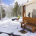 Enjoying some afternoon sun at the Bear Claw Yurt.- Bear Claw Yurt