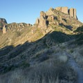 Looking back at Casa Grande Peak in early morning light.- Lost Mine Trail