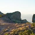 Walking the bare ridgeline on Lost Mine Peak.- Lost Mine Trail