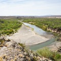 View over the Rio Grande to Mexico early in the hike.- Boquillas Canyon Trail
