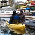 Kayak Connection providing orientation before pushing off the dock in Santa Cruz Harbor.- Santa Cruz Harbor