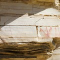 Pictographs drawn on the rock wall.- Hot Springs Historic Site