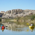Open desert scenery on the first half of the trip.- Santa Elena Canyon of the Rio Grande