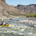 Small riffles break up the flatwater.- Santa Elena Canyon of the Rio Grande