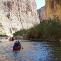 Canoes can travel up or downstream at lower water levels.- Santa Elena Canyon of the Rio Grande