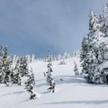 Looking up toward the pass.- Excelsior Pass Snowshoe
