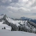 Excelsior Peak to the left with Mount Shuksan in the distance.- Excelsior Pass Snowshoe