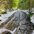 The falls on the lower reach of the trail.- Excelsior Pass Snowshoe