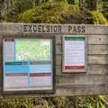 Trailhead signage.- Excelsior Pass Snowshoe
