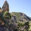 Hiking among The Pinnacles high on the slopes of the basin.- Emory Peak via Pinnacles Trail