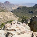 A short rock scramble is required to reach the summit.- Emory Peak via Pinnacles Trail