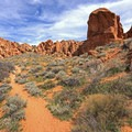 Quintessential desert landscapes here.- Babylon Arch Trail to the Virgin River