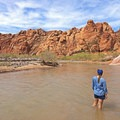 The Virgin River feels wonderful after a hot day hike. - Babylon Arch Beach