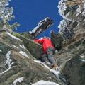 The large boulder at 2 miles in.- Mount Baldy via Register Ridge