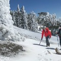 Poles or an ice ax can help with icy conditions.- Mount Baldy via Register Ridge