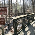 For those hiking to Cunningham Falls from the Catoctin National Park Visitor Center, you will reach the boardwalk after a 1.4-mile hike. You will then cross Route 77 to reach the boardwalk.- Cunningham Falls