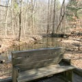 There are benches along the boardwalk to sit and enjoy the scenery.- Cunningham Falls