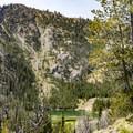First glimpse of Titus Lake.- Titus Lake Trail
