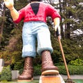 Paul Bunyan welcomes visitors.- Trees Of Mystery