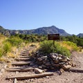 The trail junction that completes the loop.- Chisos Basin Loop