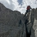 Last chute before the easy ridge to the station.- Grands Montets: East Ridge