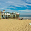 A view of The Pier from the sandy beach.- Old Orchard Beach