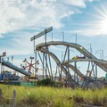 The Palace Playland roller coaster seen from the beach.- Old Orchard Beach