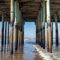 The supporting structure of The Pier is a popular attraction for young kids.- Old Orchard Beach