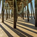 Shadows and the sand from the pier.- Old Orchard Beach
