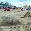 Sand sculptures found along the beach. Note that there are some sections of the beach that are private.- Old Orchard Beach