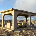 Picnic shelters at Little Painted Desert.- Little Painted Desert