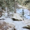 The trail freezes over in winter and has to be navigated around.- Nambe Lake Trail
