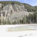 View of the frozen lake. - Nambe Lake Trail
