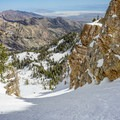 Looking down the Eastern Twin Couloir.- Deseret Peak: Temple + Twin Couloirs