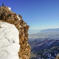 Overlooking the Temple Chute and the Great Salt Lake below.- Deseret Peak: Temple + Twin Couloirs