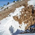 Getting ready to ski.- Deseret Peak: Temple + Twin Couloirs