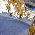 Skiing down the Temple Chute.- Deseret Peak: Temple + Twin Couloirs